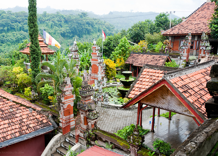 The entrance courtyard and fountain at the Bramavihara-Arama Buddhist Temple, viewed from an upper level.  The Bramavihara-Arama Buddhist Temple is one of the premier sites to visit in northern Bali, Indonesia.