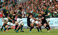 PRETORIA, SOUTH AFRICA - OCTOBER 06: Rieko Ioane of the New Zealand (All Blacks) tackling Willie le Roux of South Africa during the Rugby Championship match between South Africa Springboks and New Zealand All Blacks at Loftus Versfeld Stadium. on October 6, 2018 in Pretoria, South Africa. Photo: Steve Haag / stevehaagsports.com
