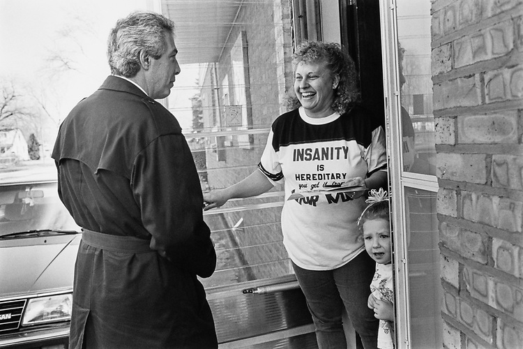 Rep. Marty Russo, D-Ill., campaigning on Feb. 29, 1992. (Photo by Maureen Keating/CQ Roll Call)