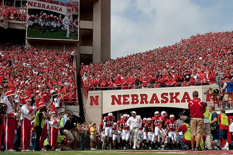 12 September 09: Nebraska Cornhuskers Tunnel Walk before the Arkansas State game at Memorial Stadium in Lincoln, Nebraska.