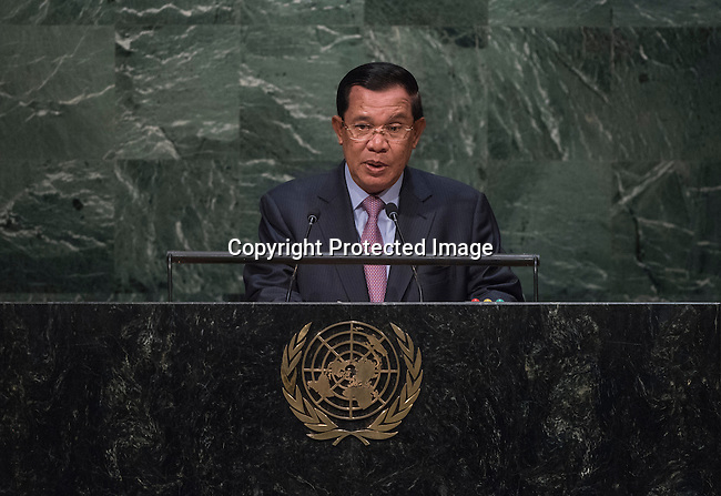 His Excellency Samdech Akka Moha Sena Padei Techo Hun Sen, Prime Minister of the Kingdom of Cambodia<br /> <br /> 6th plenary meeting High-level plenary meeting of the General Assembly (3rd meeting)