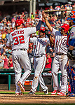 30 April 2017: Washington Nationals catcher Matt Wieters comes home to score after hitting a 3-RBI homer in the 7th inning against the New York Mets at Nationals Park in Washington, DC. The Nationals defeated the Mets 23-5, with the Nationals setting several individual and team records, in the third game of their weekend series. Mandatory Credit: Ed Wolfstein Photo *** RAW (NEF) Image File Available ***