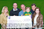 Donnach, Diane and Jack O'Leary presents the Kerry Deaf Resource Centre a cheque of EUR10,110 in Killarney on Friday evening they raised the money by having a race night in Barradubh last month l-r: Diane O'Leary, Patrick Doody, Donnach, Jack O'Leary, Willie White and Geraldine Broderick..