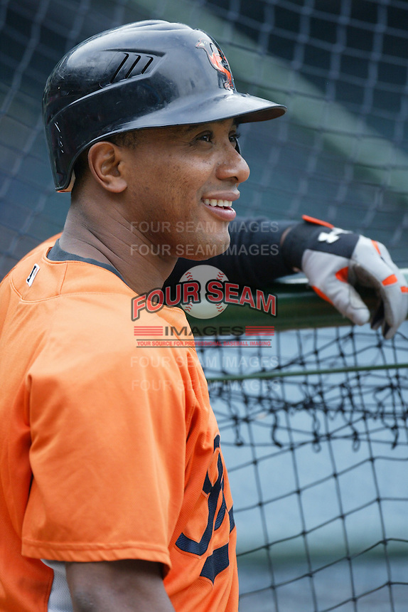 Melvin Mora of the Baltimore Orioles during batting practice before a game from the 2007 season at Angel Stadium in Anaheim, California. (Larry Goren/Four Seam Images)