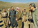 Iran 1990  <br />  Meeting of the Kurdistan Front before the uprising, in Kasmarach, from left to right, Jabar Fermand, Nou Shirwan Mustafa, Masoud Barzani, Abdalla Omar  <br /> Iran 1990 <br /> Rencontre du front du Kurdistan avant le soulevement  a Kasmarach. De gauche a droite, Jabar Fermand, Nou Shirwan Mustafa, Masoud Barzani et Abdalla Omar