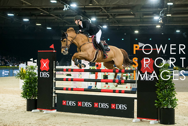 Kevin Staut of France riding Ayade de Septon et HDC competes in the Longines Speed Challenge during the Longines Masters of Hong Kong at AsiaWorld-Expo on 10 February 2018, in Hong Kong, Hong Kong. Photo by Diego Gonzalez / Power Sport Images