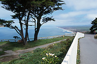 View of Rugged Coastline along Pacific West Coast, from Point Reyes Lighthouse in Point Reyes National Seashore, California, USA