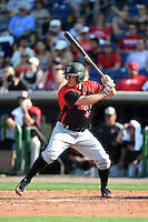 Tampa Spartans pinch hitter Kevin Martin (4) at bat during an exhibition game against the Philadelphia Phillies on March 1, 2015 at Bright House Field in Clearwater, Florida.  Tampa defeated Philadelphia 6-2.  (Mike Janes/Four Seam Images)