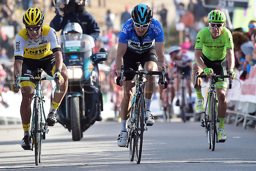 21.02.2016. Almodovor, Algarve, Portugal.  THOMAS Geraint (GBR)  of TEAM SKY, ARU Fabio (ITA)  of ASTANA PRO TEAM and ROGLIC Primoz (SLO)  of TEAM LOTTO NL - JUMBO cross the finish line during stage 5 of the 42nd Tour of Algarve cycling race with start in Almodovar and finish in Malhao (Loule) on February 21, 2016 in Malhao, Portugal.