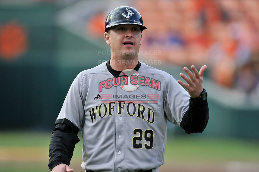 Head coach Todd Interdonato (29) of the Wofford College Terriers in a game against the Clemson University Tigers on Tuesday, March 1, 2016, at Doug Kingsmore Stadium in Clemson, South Carolina. Clemson won, 7-0. (Tom Priddy/Four Seam Images)