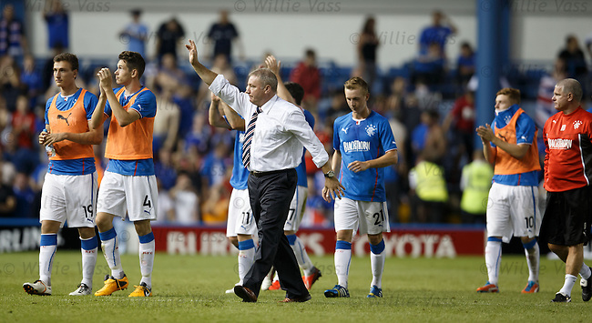 Ally McCoist and the Rangers players applaud the home fans after the match