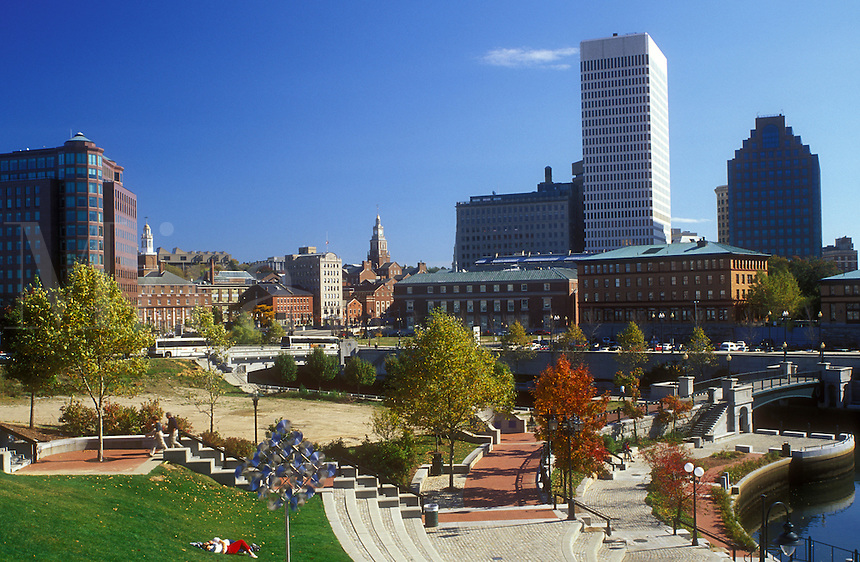 Providence, Rhode Island, RI, Waterplace Park along the Woonasquatucket River in downtown Providence in the fall.