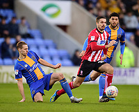 Lincoln City's Zack Elbouzedi battles with Shrewsbury Town's David Edwards<br /> <br /> Photographer Andrew Vaughan/CameraSport<br /> <br /> The EFL Sky Bet League One - Shrewsbury Town v Lincoln City - Saturday 11th January 2020 - New Meadow - Shrewsbury<br /> <br /> World Copyright © 2020 CameraSport. All rights reserved. 43 Linden Ave. Countesthorpe. Leicester. England. LE8 5PG - Tel: +44 (0) 116 277 4147 - admin@camerasport.com - www.camerasport.com