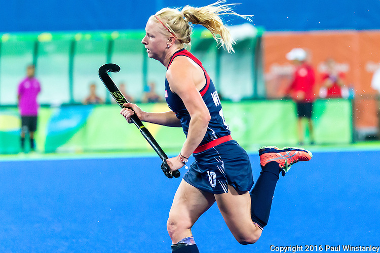 Jill Witmer #10 of United States races down the field during Great Britain vs USA in a women's Pool B game at the Rio 2016 Olympics at the Olympic Hockey Centre in Rio de Janeiro, Brazil.