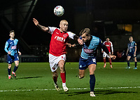 Fleetwood Town's Paddy Madden competing with Wycombe Wanderers' Alex Pattison (right) <br /> <br /> Photographer Andrew Kearns/CameraSport<br /> <br /> The EFL Sky Bet League One - Wycombe Wanderers v Fleetwood Town - Tuesday 11th February 2020 - Adams Park - Wycombe<br /> <br /> World Copyright © 2020 CameraSport. All rights reserved. 43 Linden Ave. Countesthorpe. Leicester. England. LE8 5PG - Tel: +44 (0) 116 277 4147 - admin@camerasport.com - www.camerasport.com