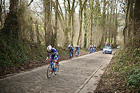 Marco Marcato (ITA/Wanty-Groupe Gobert) charging up the Taaienberg cobbles<br /> <br /> reconnaissance of the 2016 Het Nieuwsblad parcours with Wanty-Groupe Gobert