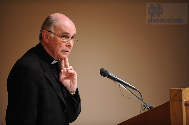 Rev. J. Bryan Hehir lectures in Hesburgh Auditorium