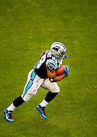 Running back Jonathan Stewart (#28). Photo from the Carolina Panthers' 20-9 loss to the Buffalo Bills in Charlotte on Sunday, Oct. 25, 2009. Professional American NFL football team The Carolina Panthers represents North Carolina and South Carolina from its hometown of Charlotte, NC. The Carolina Panthers are members of the NFL's National Football Conference South Division. The Charlotte professional football team began playing in Charlotte in 1995 as an expansion team.  The Carolina Panthers play in Bank of America Stadium, formerly known as Carolinas Stadium and Ericsson Stadium.