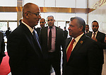Palestinian Prime Minister Rami Hamdallah meets with Jordan's King Abdullah II after the Asian African Conference in Jakarta April 22, 2015. The 60th Asian-African Conference is held in Jakarta and Bandung from 19 to 24 April 2015. Photo by Prime Minister Office