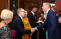 Prince William, Duke of Cambridge greets Jason Watkins and Wife Clara Franci with Aljaz Skorjanec, Janette Manrara and Mary Berry during the Child Bereavement 25th birthday gala dinner at Kensington Palace in London. HRH is a patron of Child Bereavement UK. The charity works to help families to rebuild their lives after the devastation of child bereavement. Photo Credit: ALPR/AdMedia