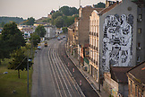 SERBIA, Belgrade, A large mural in Belgrade along the riverfront street, Eastern Europe