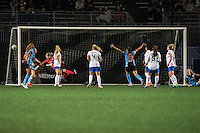 Allston, MA - Saturday, May 07, 2016: Chicago Red Stars forward Christen Press (23) scores during a regular season National Women's Soccer League (NWSL) match at Jordan Field.