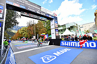 Picture by Simon Wilkinson/SWpix.com - 24/09/2018 - Cycling 2018 Road Cycling World Championships Innsbruck-Tiriol, Austria - Under 23 Men's Individual Time Trial - finish gantry MAPEI branding