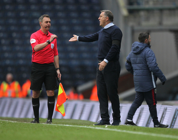Blackburn Rovers Manager Tony Mowbray complaind to the linesman<br /> <br /> Photographer Mick Walker/CameraSport<br /> <br /> The EFL Sky Bet Championship - Blackburn Rovers v Bristol City - Saturday 9th February 2019 - Ewood Park - Blackburn<br /> <br /> World Copyright © 2019 CameraSport. All rights reserved. 43 Linden Ave. Countesthorpe. Leicester. England. LE8 5PG - Tel: +44 (0) 116 277 4147 - admin@camerasport.com - www.camerasport.com