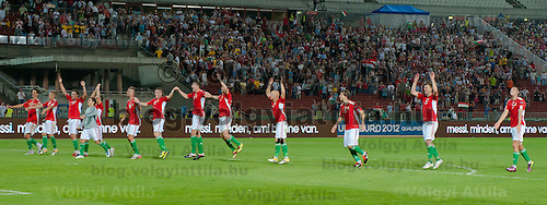 Members of team Hungary celebrate their victory during the UEFA EURO 2012 Group E qualifier Hungary playing against Sweden in Budapest, Hungary on September 02, 2011. ATTILA VOLGYI