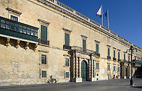 Oblique low angle view from the front of the Grandmaster's Palace, 1571, Valletta, Malta, pictured on June 7, 2008, in the afternoon. The Republic of Malta consists of seven islands in the Mediterranean Sea of which Malta, Gozo and Comino have been inhabited since c.5,200 BC. Nine of Malta's important historical monuments are UNESCO World Heritage Sites, including  the capital city, Valletta, also known as the Fortress City. Built in the late 16th century and mainly Baroque in style it is named after its founder Jean Parisot de Valette (c.1494-1568), Grand Master of the Order of St John. The Grandmaster's Palace, which now houses the Office of the President and the House of Representatives, was designed by Girolamo Cassar, and has been extended and re-modelled many times over the centuries. Picture by Manuel Cohen.