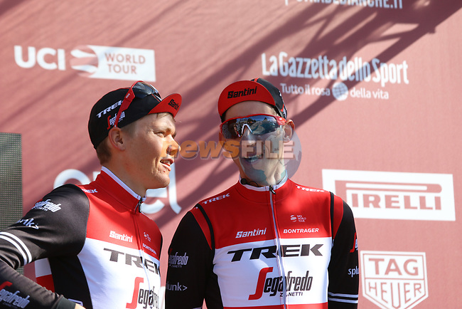 Toms Skujins (LAT) and Bauke Mollema (NED) Trek-Segafredo at sign on before the start of Strade Bianche 2019 running 184km from Siena to Siena, held over the white gravel roads of Tuscany, Italy. 9th March 2019.<br /> Picture: Seamus Yore | Cyclefile<br /> <br /> <br /> All photos usage must carry mandatory copyright credit (© Cyclefile | Seamus Yore)