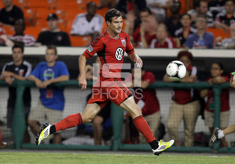 WASHINGTON, DC - July 28, 2012:  Chris Pontius (13) of DC United playing against PSG (Paris Saint-Germain) in an international friendly match at RFK Stadium in Washington DC on July 28. The game ended in a 1-1 tie.