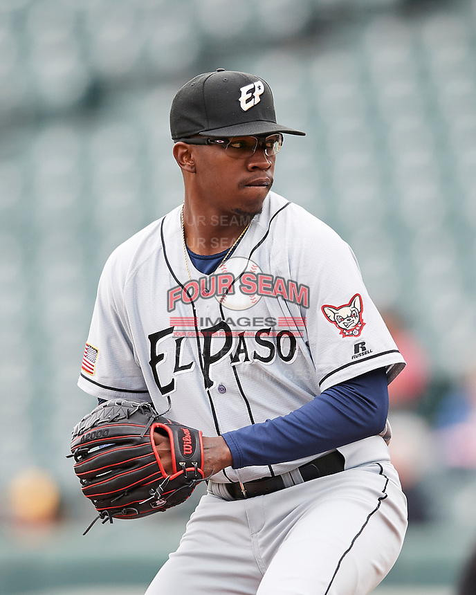 El Paso Chihuahuas starting pitcher Tyrell Jenkins (23) delivers a pitch to the plate against the Salt Lake Bees in Pacific Coast League action at Smith's Ballpark on April 30, 2017 in Salt Lake City, Utah. El Paso defeated Salt Lake 12-3. This was Game 2 of a double-header originally scheduled on April 28, 2017. (Stephen Smith/Four Seam Images)