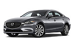 Stock pictures of low aggressive front three quarter view of a 2018 Mazda Mazda6 Grand Touring Reserve 4 Door Sedan