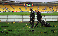 Phoenix head coach Ricki Herbert and kit manager Russell Gray make their way round to the bench before kickoff during the A-League football match between Wellington Phoenix and Perth Glory at Westpac Stadium, Wellington, New Zealand on Sunday, 16 August 2009. Photo: Dave Lintott / lintottphoto.co.nz