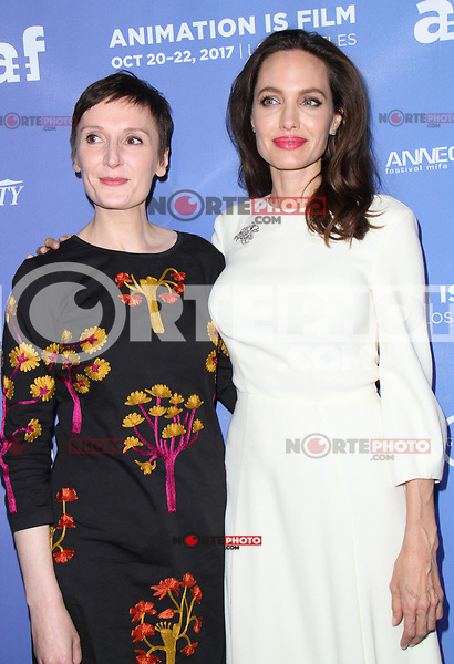 HOLLYWOOD, CA - OCTOBER 20:  Nora Twomey, Angelina Jolie, at Premiere Of Gkids' 'The Breadwinner' At TCL Chinese 6 Theatres in Hollywood, California on October 20, 2017. Credit: Faye Sadou/MediaPunch /NortePhoto.com
