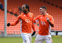 Blackpool's Nathan Delfouneso celebrates scoring his side's first goal with team-mate Callum Cooke<br /> <br /> Photographer Richard Martin-Roberts/CameraSport<br /> <br /> The EFL Sky Bet League One - Blackpool v Walsall - Saturday 10th February 2018 - Bloomfield Road - Blackpool<br /> <br /> World Copyright &not;&copy; 2018 CameraSport. All rights reserved. 43 Linden Ave. Countesthorpe. Leicester. England. LE8 5PG - Tel: +44 (0) 116 277 4147 - admin@camerasport.com - www.camerasport.com