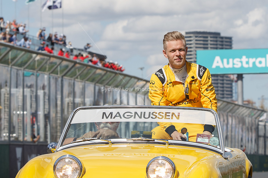 March 20, 2016: Kevin Magnussen (DEN) #20 from the Renault Sport F1 team at the drivers' parade prior to the 2016 Australian Formula One Grand Prix at Albert Park, Melbourne, Australia. Photo Sydney Low