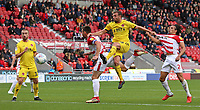 Fleetwood Town's James Wallace scores his side's second goal <br /> <br /> Photographer David Shipman/CameraSport<br /> <br /> The EFL Sky Bet League One - Doncaster Rovers v Fleetwood Town - Saturday 6th October 2018 - Keepmoat Stadium - Doncaster<br /> <br /> World Copyright &copy; 2018 CameraSport. All rights reserved. 43 Linden Ave. Countesthorpe. Leicester. England. LE8 5PG - Tel: +44 (0) 116 277 4147 - admin@camerasport.com - www.camerasport.com