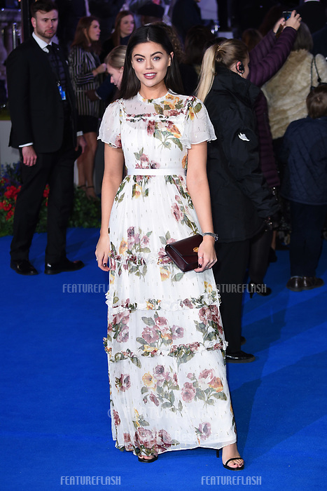 """LONDON, UK. December 12, 2018: Emily Canham at the UK premiere of """"Mary Poppins Returns"""" at the Royal Albert Hall, London.<br /> Picture: Steve Vas/Featureflash"""