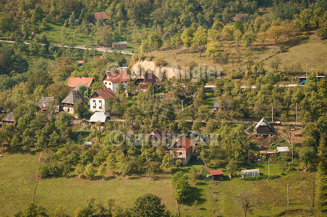 Houses and home in the village of Mokra Gora, Serbia.