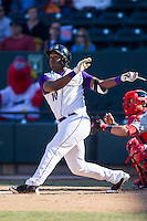Courtney Hawkins (10) of the Winston-Salem Dash follows through on his swing against the Salem Red Sox at BB&T Ballpark on April 20, 2014 in Winston-Salem, North Carolina.  The Dash defeated the Red Sox 10-8.  (Brian Westerholt/Four Seam Images)