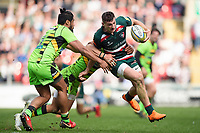 Jonny May of Leicester Tigers takes on the Northampton Saints defence. Aviva Premiership match, between Leicester Tigers and Northampton Saints on April 14, 2018 at Welford Road in Leicester, England. Photo by: Patrick Khachfe / JMP