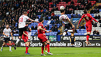 Bolton Wanderers' Josh Magennis meets a corner kick<br /> <br /> Photographer Andrew Kearns/CameraSport<br /> <br /> Emirates FA Cup Third Round - Bolton Wanderers v Walsall - Saturday 5th January 2019 - University of Bolton Stadium - Bolton<br />  <br /> World Copyright &copy; 2019 CameraSport. All rights reserved. 43 Linden Ave. Countesthorpe. Leicester. England. LE8 5PG - Tel: +44 (0) 116 277 4147 - admin@camerasport.com - www.camerasport.com
