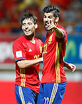 Spain's David Silva (l) and Nolito celebrate goal during FIFA World Cup 2018 Qualifying Round match. September 5,2016.(ALTERPHOTOS/Acero)