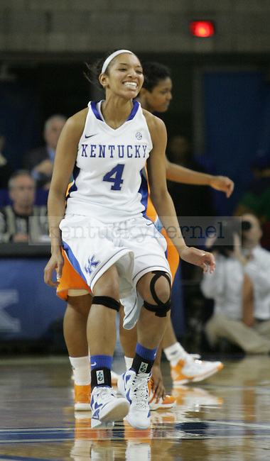 Senior guard Keyla Snowden celebrates after defeating the University of Tennessee in Memorial Coliseum, on Thursday, Jan. 12, 2012. Kentucky won 61-60. Photo by Latara Appleby | Staff ..