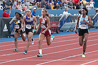 Cherokee Trail's Shayna Yon (#5) sprints to victory in the girls 100-meter dash in 11.68 with +1.5 mph wind to hold off Gandview's Anglerne Annelus (#4) 11.77, Chloe Akin-Otiko (#6) 11.91, and Maya Cody (#7) 12.07 at the 2015 Kansas Relays in Lawrence, Ks. Friday, April 17. The win earned Yon a berth in the Adidas Grand Prix Dream 100-meters in New York City in June.