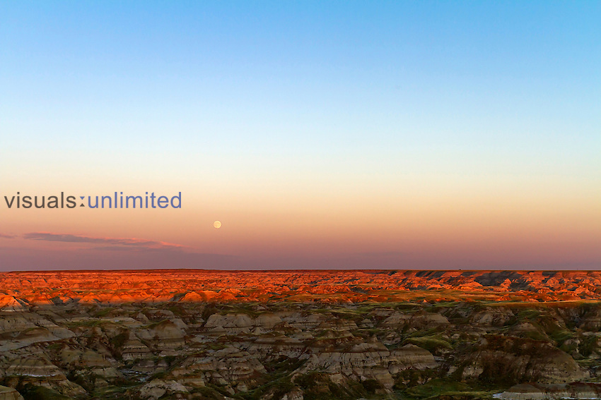 Moonrise over the badlands of Dinosaur Provincial Park, Alberta, Canada