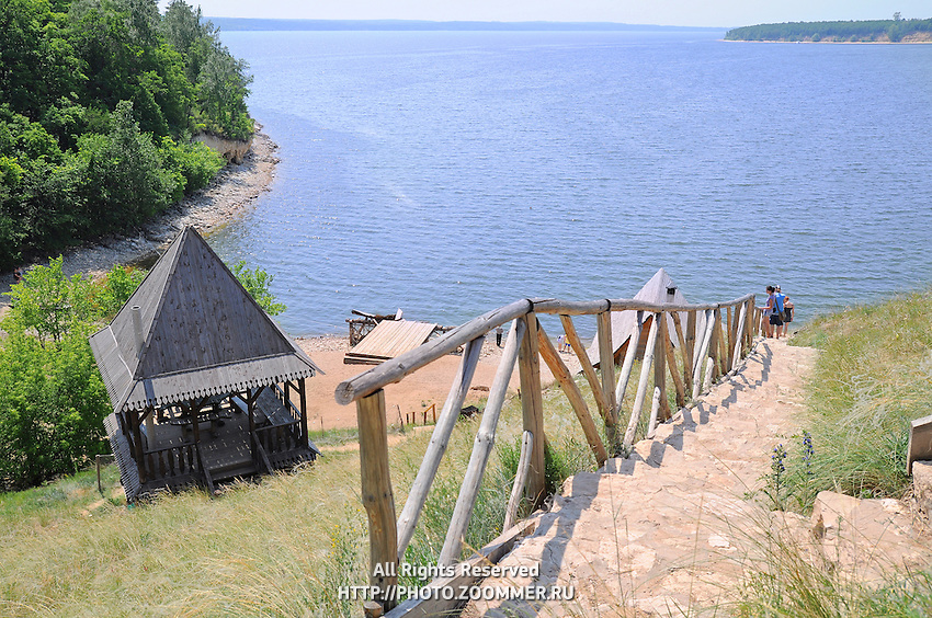 """Descent to the water reservoir in the old Russian village. Situated in Russian National Park """"Samarskaya Luka""""."""