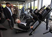Pictured: Richard B Davies lifts one of the weights in the gymnasium Tuesday 04 April 2017<br />